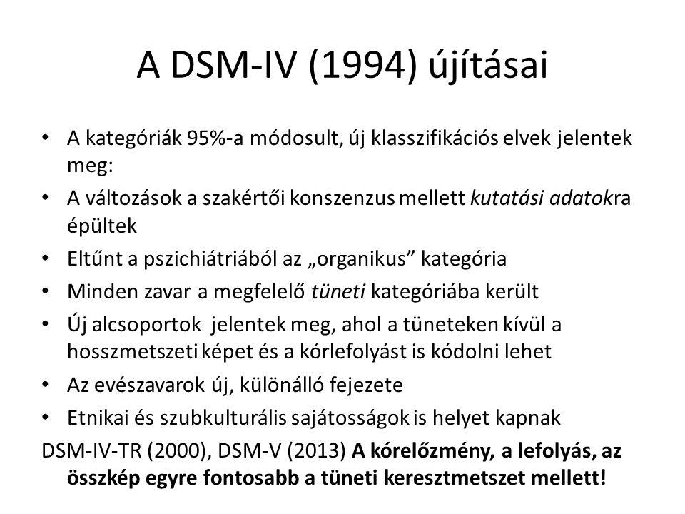 A DSM-IV (1994) újításai A kategóriák 95%-a módosult, új klasszifikációs elvek jelentek meg: