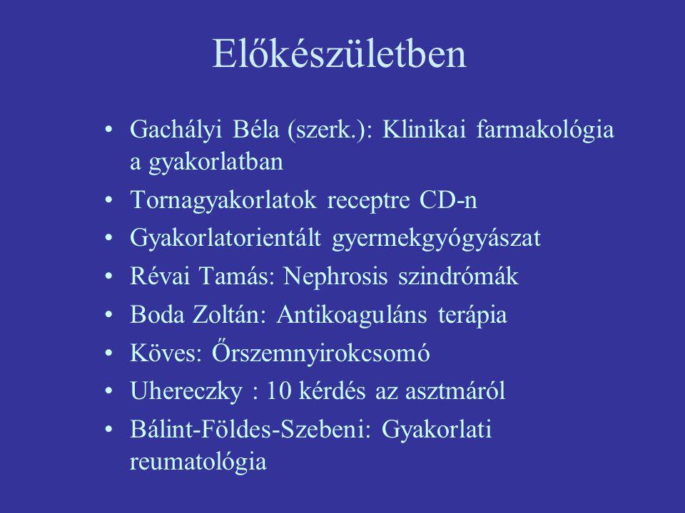 Előkészületben Gachályi Béla (szerk.): Klinikai farmakológia a gyakorlatban. Tornagyakorlatok receptre CD-n.