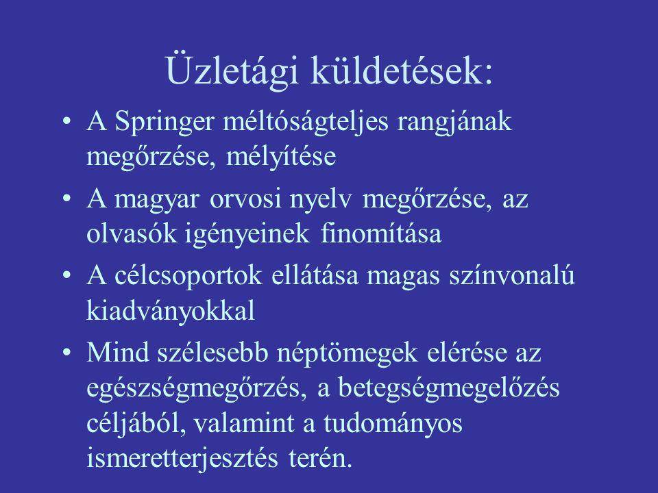 Üzletági küldetések: A Springer méltóságteljes rangjának megőrzése, mélyítése. A magyar orvosi nyelv megőrzése, az olvasók igényeinek finomítása.