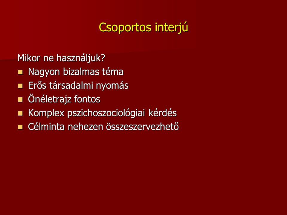 Csoportos interjú Mikor ne használjuk Nagyon bizalmas téma