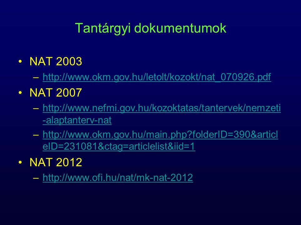 Tantárgyi dokumentumok