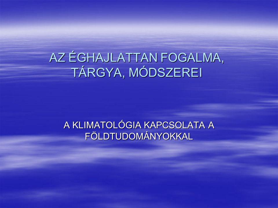 AZ ÉGHAJLATTAN FOGALMA, TÁRGYA, MÓDSZEREI