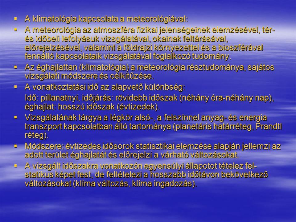 A klimatológia kapcsolata a meteorológiával: