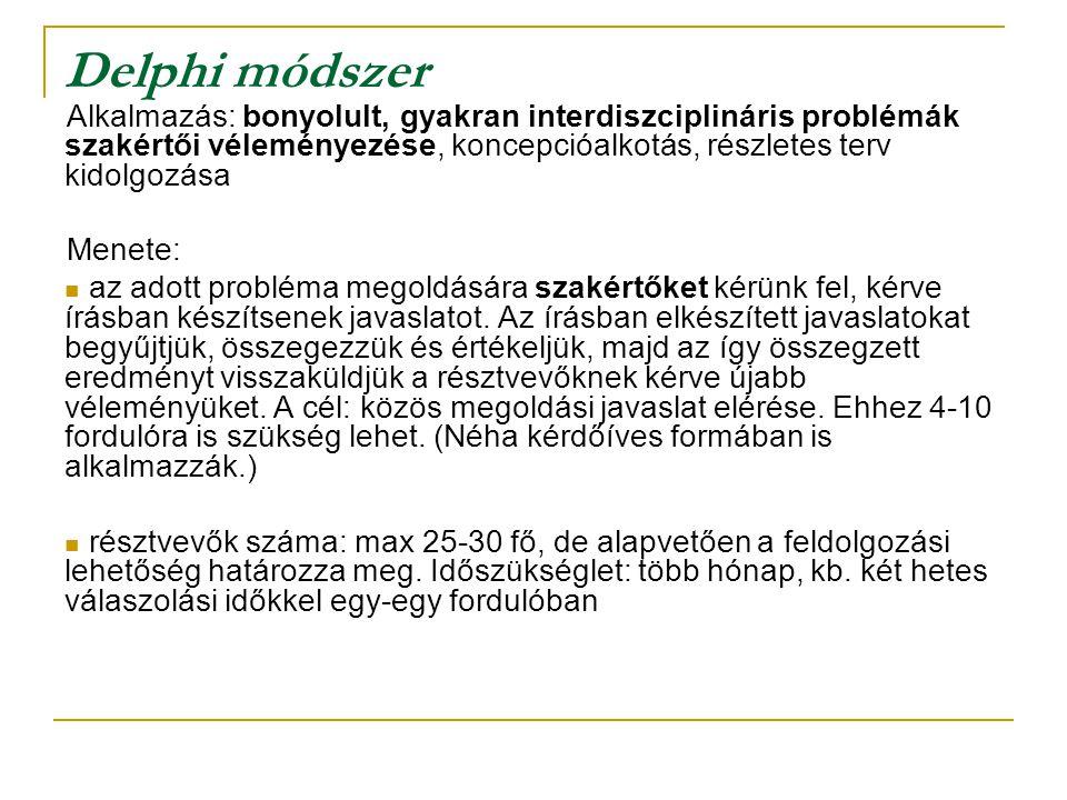 Delphi módszer Alkalmazás: bonyolult, gyakran interdiszciplináris problémák szakértői véleményezése, koncepcióalkotás, részletes terv kidolgozása.
