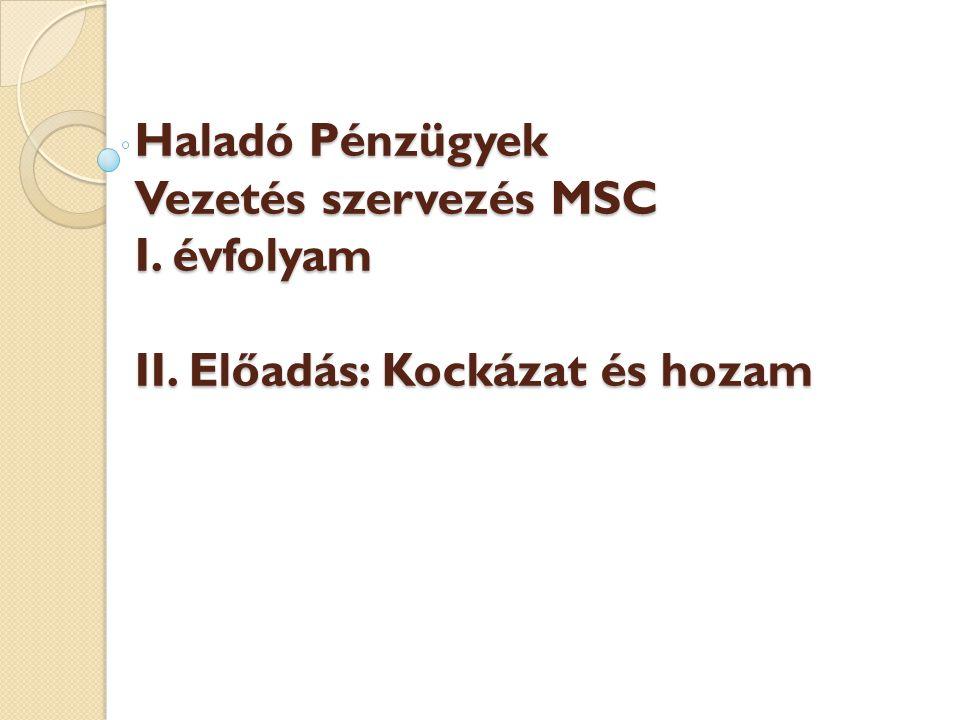 Haladó Pénzügyek Vezetés szervezés MSC I. évfolyam II