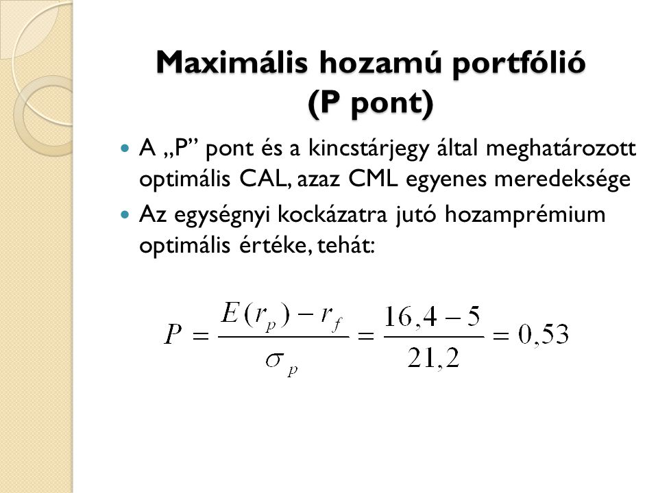 Maximális hozamú portfólió (P pont)