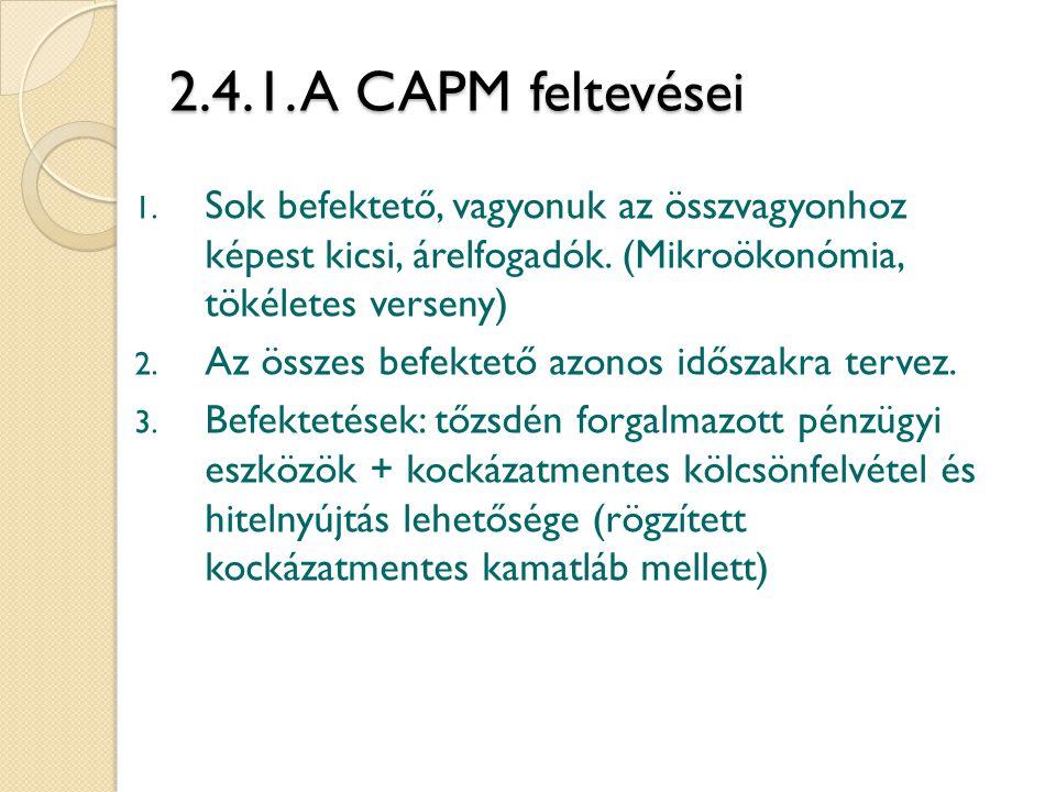 2.4.1. A CAPM feltevései Sok befektető, vagyonuk az összvagyonhoz képest kicsi, árelfogadók. (Mikroökonómia, tökéletes verseny)