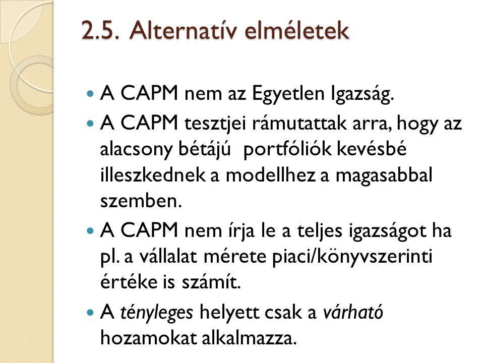 2.5. Alternatív elméletek A CAPM nem az Egyetlen Igazság.