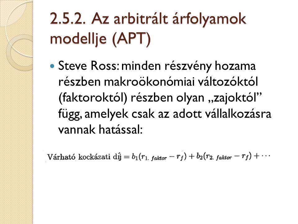 2.5.2. Az arbitrált árfolyamok modellje (APT)
