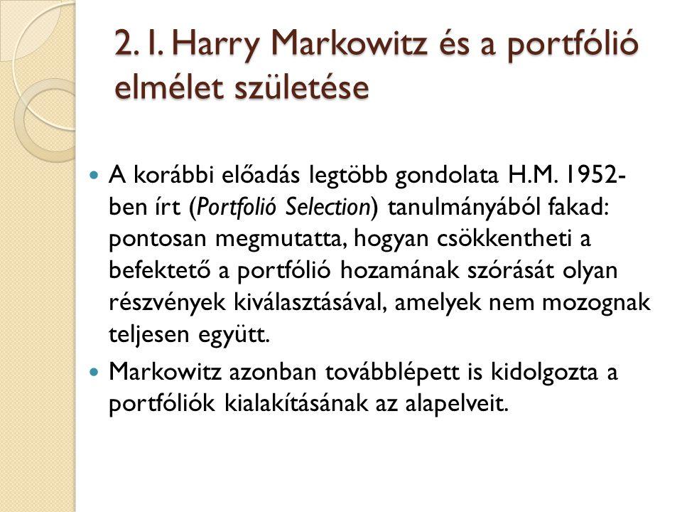 2. I. Harry Markowitz és a portfólió elmélet születése