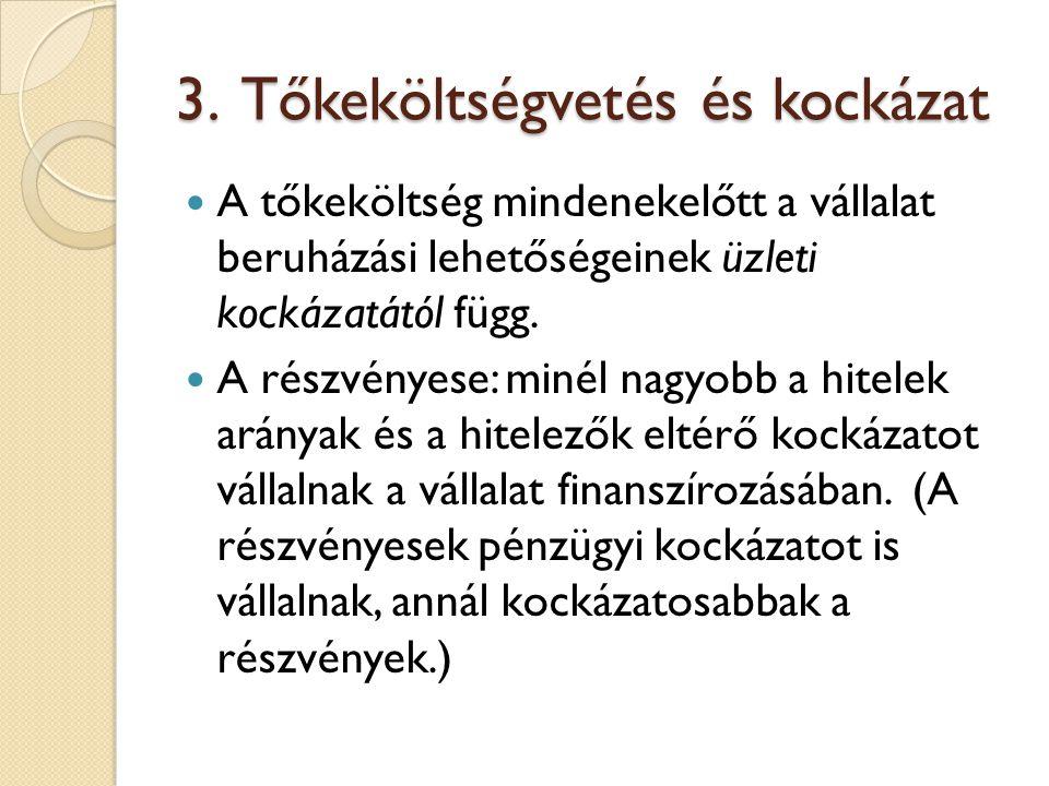 3. Tőkeköltségvetés és kockázat
