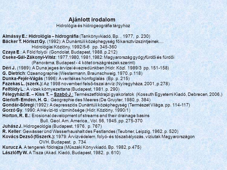 Ajánlott irodalom Hidrológia és hidrogeográfia tárgyhoz. Almássy E.: Hidrológia – hidrográfia (Tankönyvkiadó, Bp. , 1977, p. 230)
