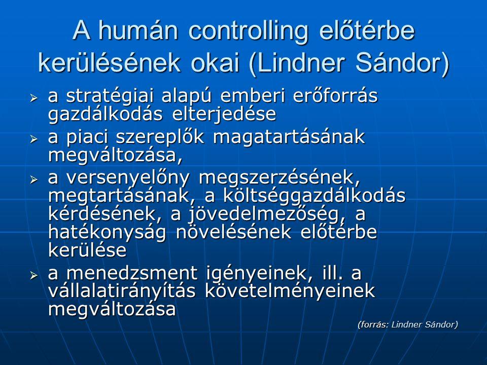 A humán controlling előtérbe kerülésének okai (Lindner Sándor)