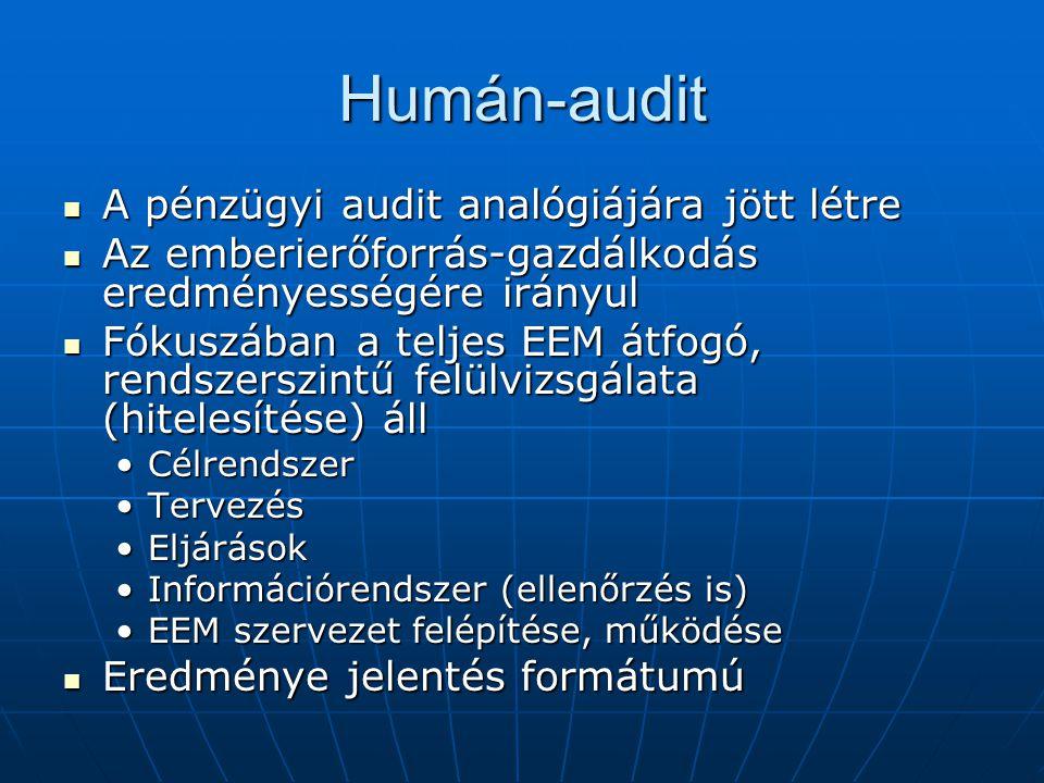 Humán-audit A pénzügyi audit analógiájára jött létre