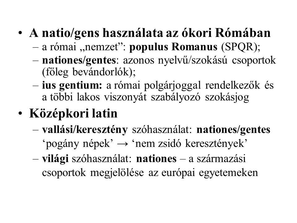 A natio/gens használata az ókori Rómában