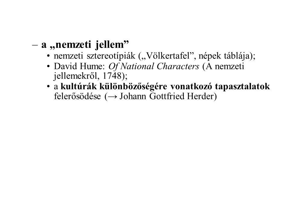 """a """"nemzeti jellem nemzeti sztereotípiák (""""Völkertafel , népek táblája); David Hume: Of National Characters (A nemzeti jellemekről, 1748);"""