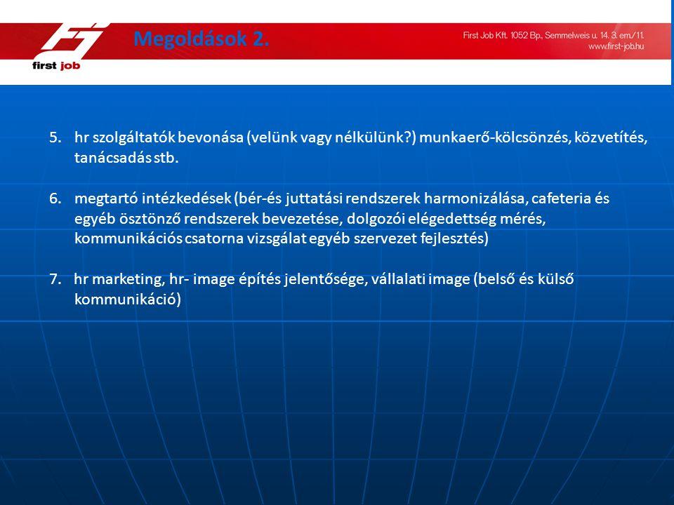 Megoldások 2. hr szolgáltatók bevonása (velünk vagy nélkülünk ) munkaerő-kölcsönzés, közvetítés, tanácsadás stb.