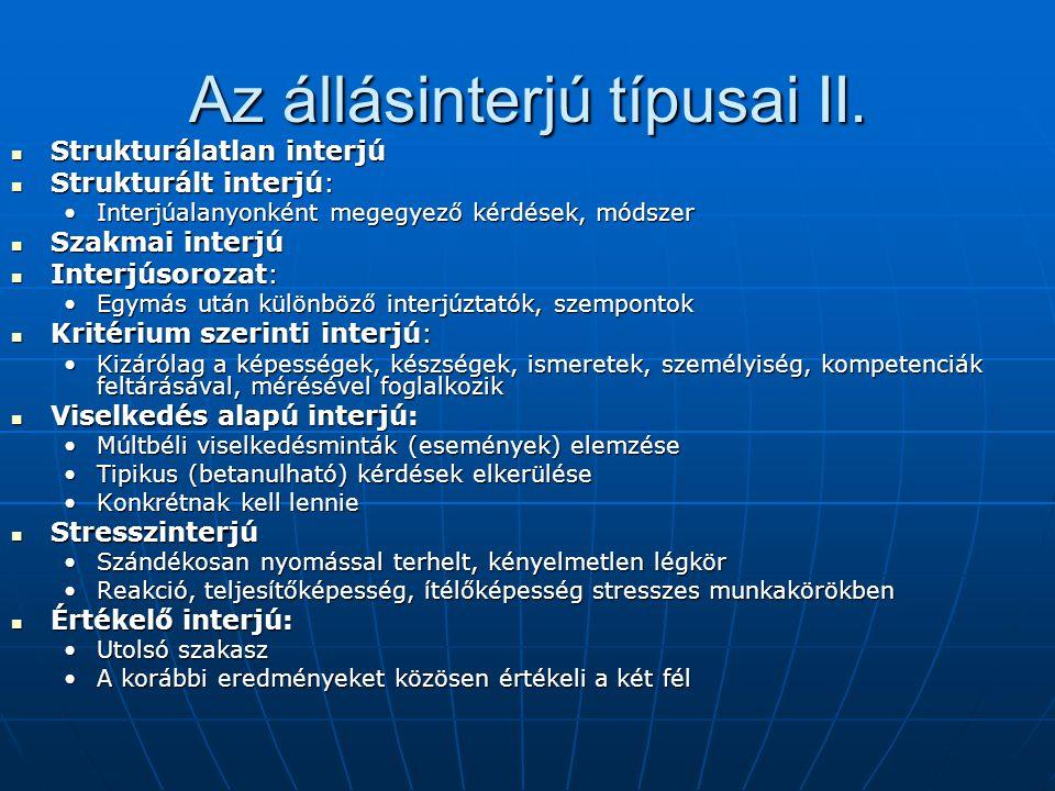 Az állásinterjú típusai II.