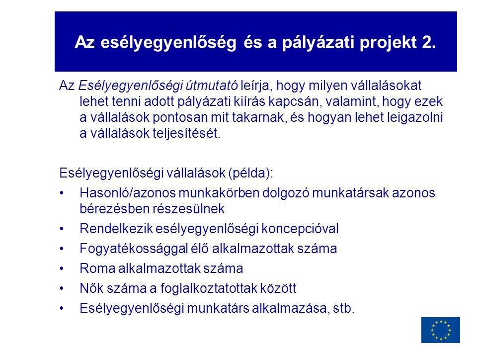 Az esélyegyenlőség és a pályázati projekt 2.