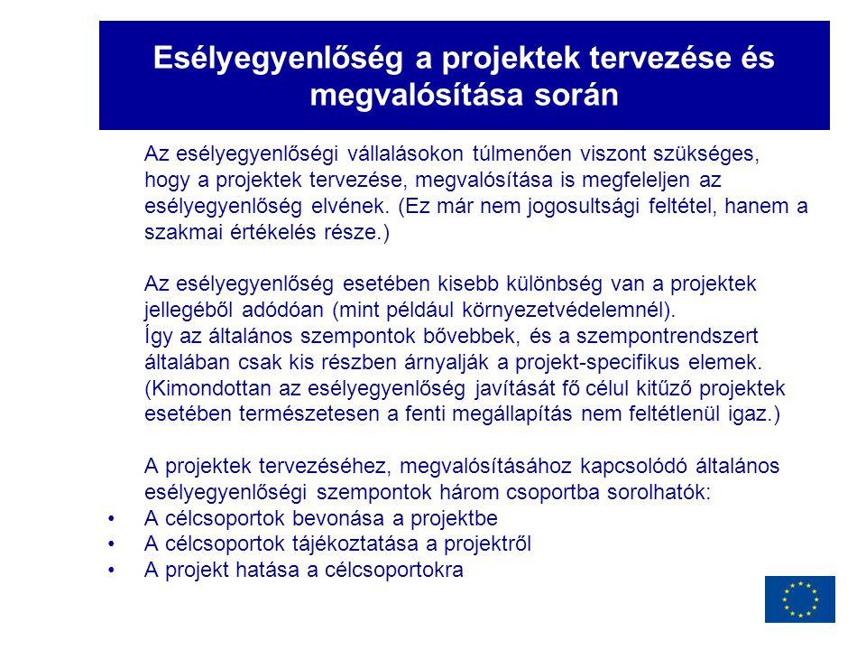 Esélyegyenlőség a projektek tervezése és megvalósítása során