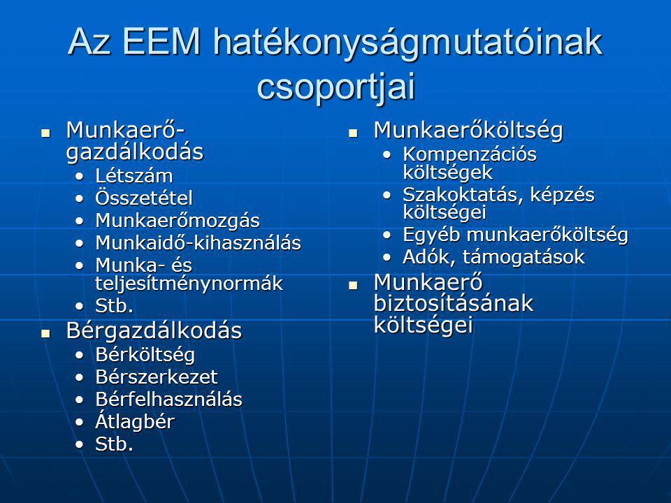 Az EEM hatékonyságmutatóinak csoportjai