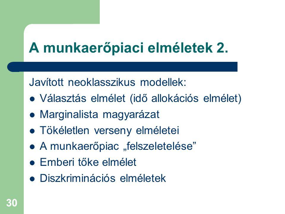 A munkaerőpiaci elméletek 2.
