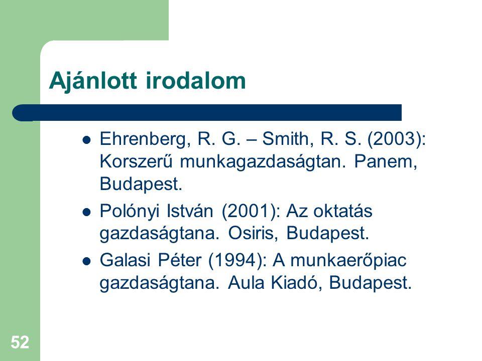Ajánlott irodalom Ehrenberg, R. G. – Smith, R. S. (2003): Korszerű munkagazdaságtan. Panem, Budapest.