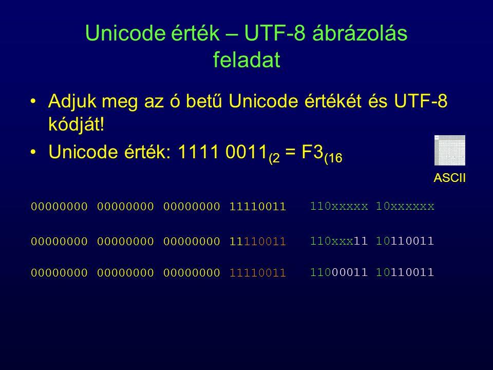 Unicode érték – UTF-8 ábrázolás feladat