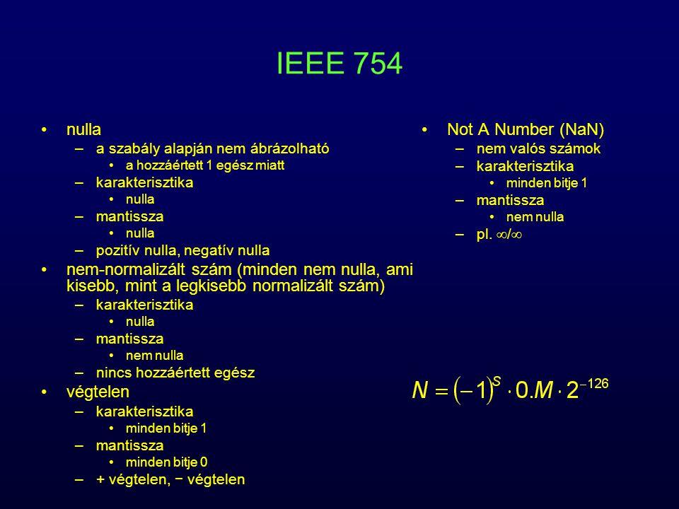 IEEE 754 nulla. a szabály alapján nem ábrázolható. a hozzáértett 1 egész miatt. karakterisztika.