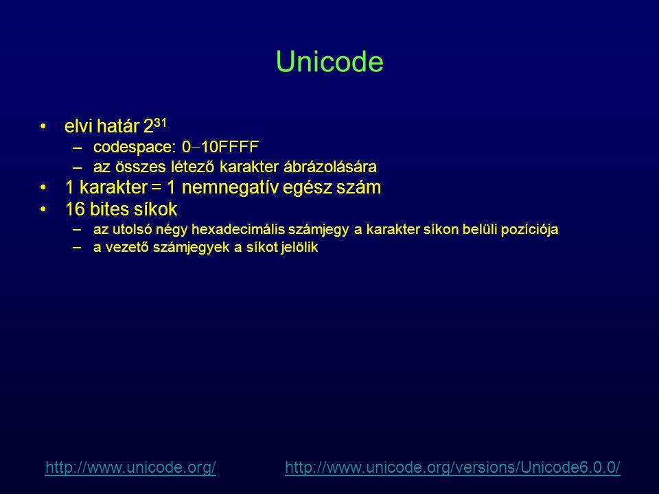 Unicode elvi határ 231 1 karakter = 1 nemnegatív egész szám