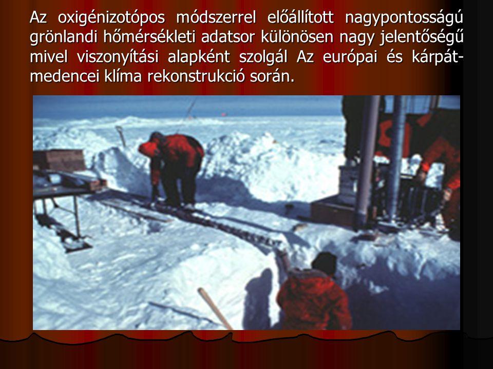 Az oxigénizotópos módszerrel előállított nagypontosságú grönlandi hőmérsékleti adatsor különösen nagy jelentőségű mivel viszonyítási alapként szolgál Az európai és kárpát-medencei klíma rekonstrukció során.