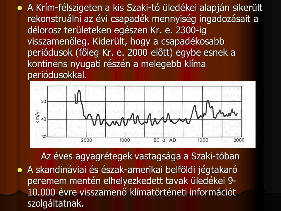 Az éves agyagrétegek vastagsága a Szaki-tóban