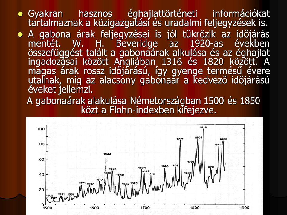 Gyakran hasznos éghajlattörténeti információkat tartalmaznak a közigazgatási és uradalmi feljegyzések is.