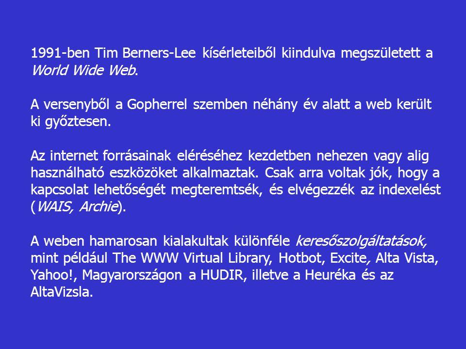 1991-ben Tim Berners-Lee kísérleteiből kiindulva megszületett a World Wide Web.