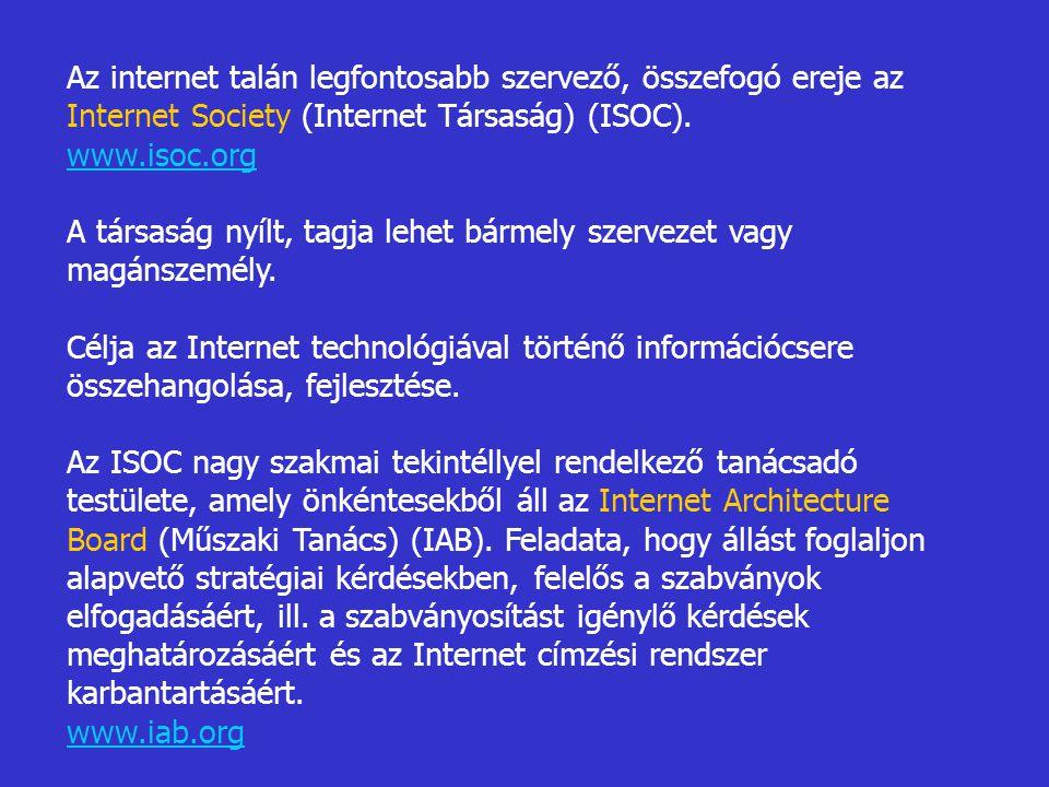 Az internet talán legfontosabb szervező, összefogó ereje az Internet Society (Internet Társaság) (ISOC).