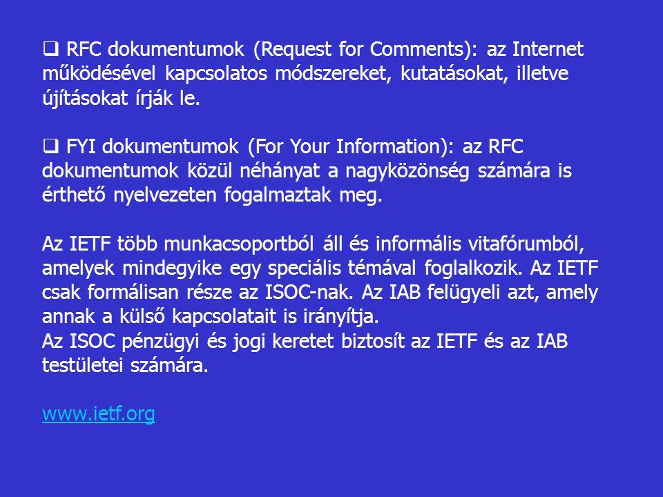 RFC dokumentumok (Request for Comments): az Internet működésével kapcsolatos módszereket, kutatásokat, illetve újításokat írják le.