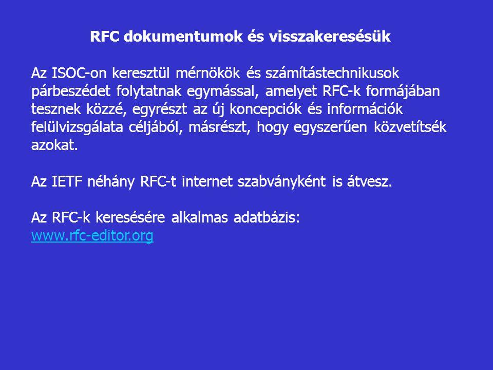 RFC dokumentumok és visszakeresésük