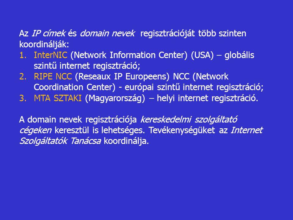 Az IP címek és domain nevek regisztrációját több szinten koordinálják: