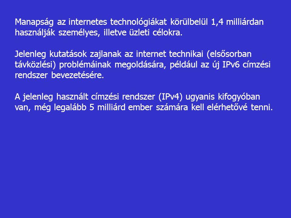 Manapság az internetes technológiákat körülbelül 1,4 milliárdan használják személyes, illetve üzleti célokra.