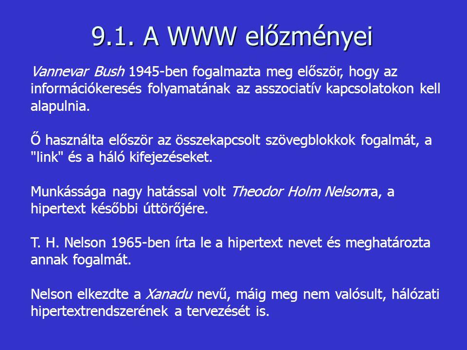 9.1. A WWW előzményei