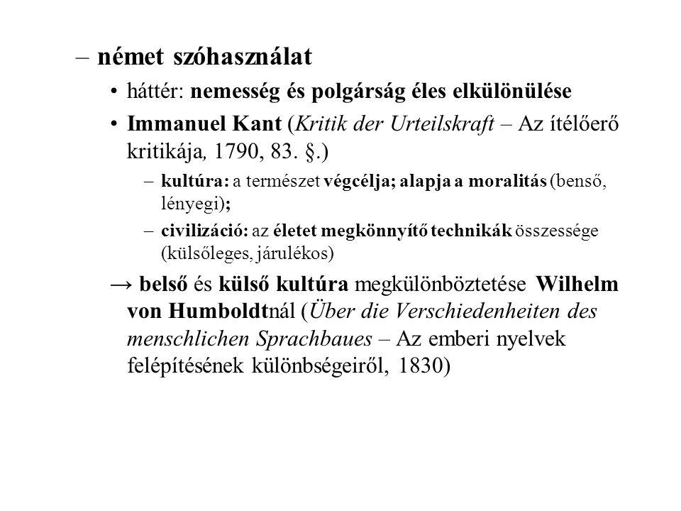 német szóhasználat háttér: nemesség és polgárság éles elkülönülése