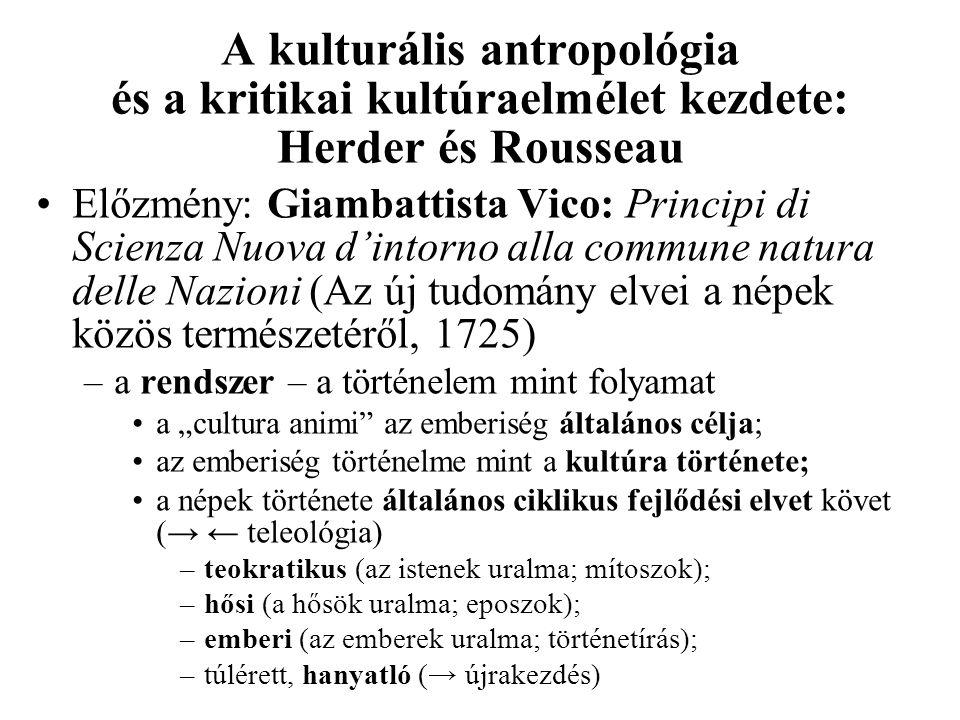 A kulturális antropológia és a kritikai kultúraelmélet kezdete: Herder és Rousseau