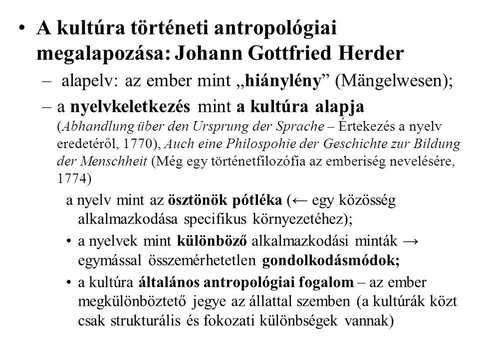 A kultúra történeti antropológiai megalapozása: Johann Gottfried Herder