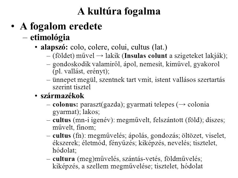 A kultúra fogalma A fogalom eredete etimológia