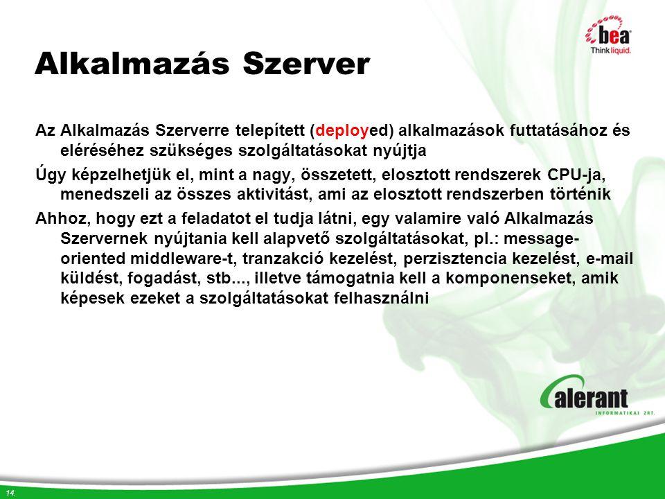 Alkalmazás Szerver Az Alkalmazás Szerverre telepített (deployed) alkalmazások futtatásához és eléréséhez szükséges szolgáltatásokat nyújtja.