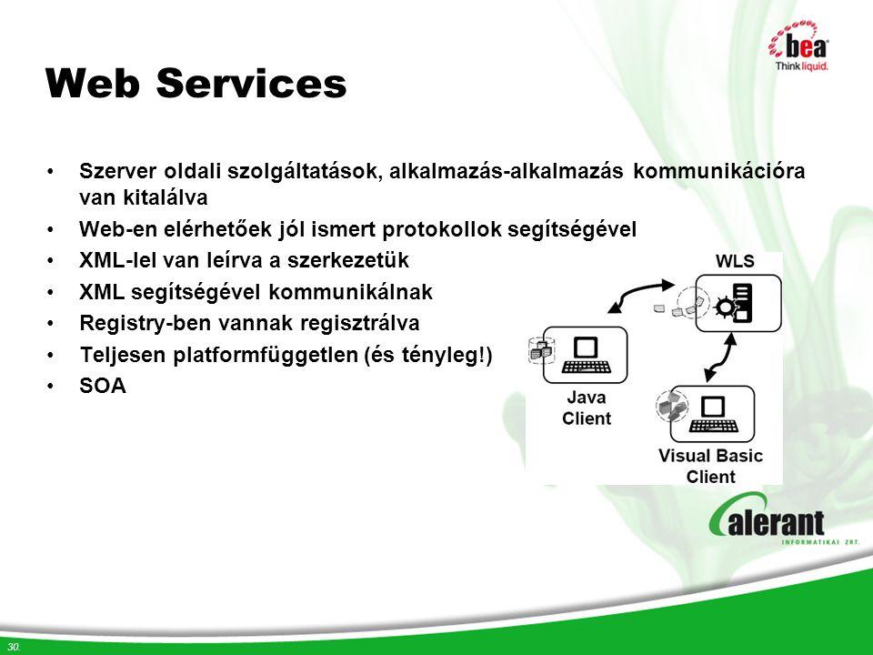 Web Services Szerver oldali szolgáltatások, alkalmazás-alkalmazás kommunikációra van kitalálva.