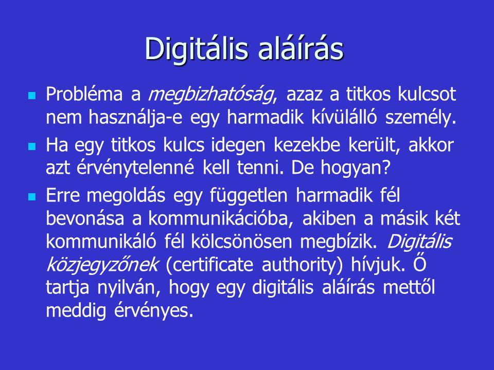 Digitális aláírás Probléma a megbizhatóság, azaz a titkos kulcsot nem használja-e egy harmadik kívülálló személy.