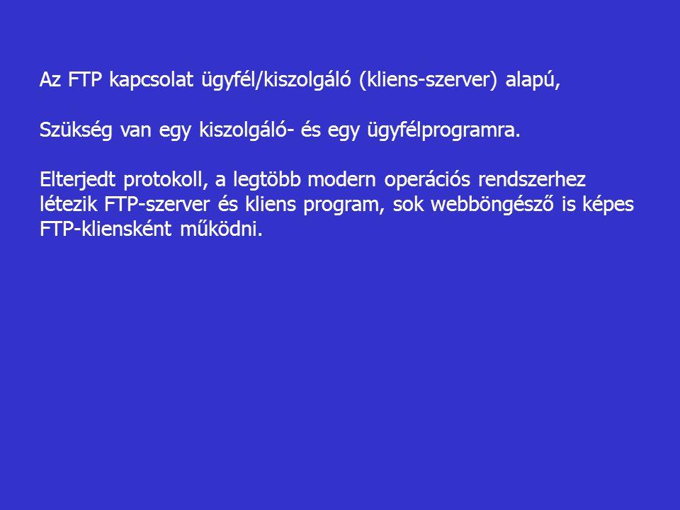 Az FTP kapcsolat ügyfél/kiszolgáló (kliens-szerver) alapú,