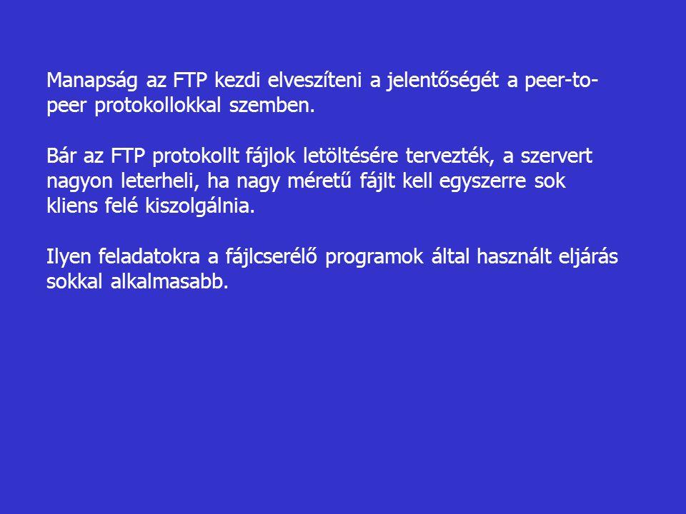 Manapság az FTP kezdi elveszíteni a jelentőségét a peer-to-peer protokollokkal szemben.