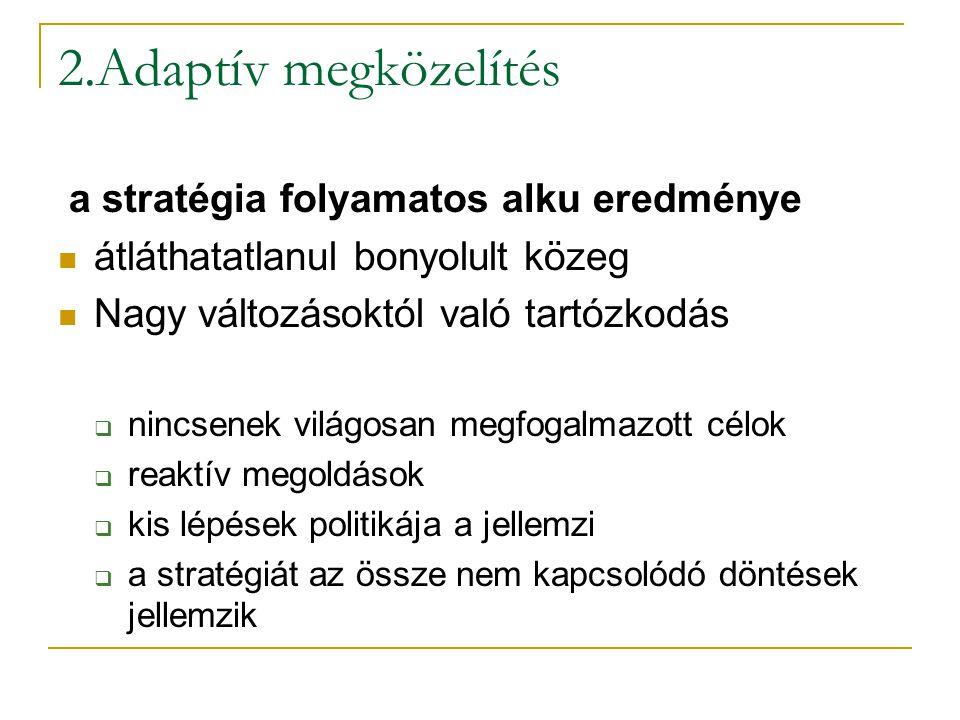 2.Adaptív megközelítés a stratégia folyamatos alku eredménye